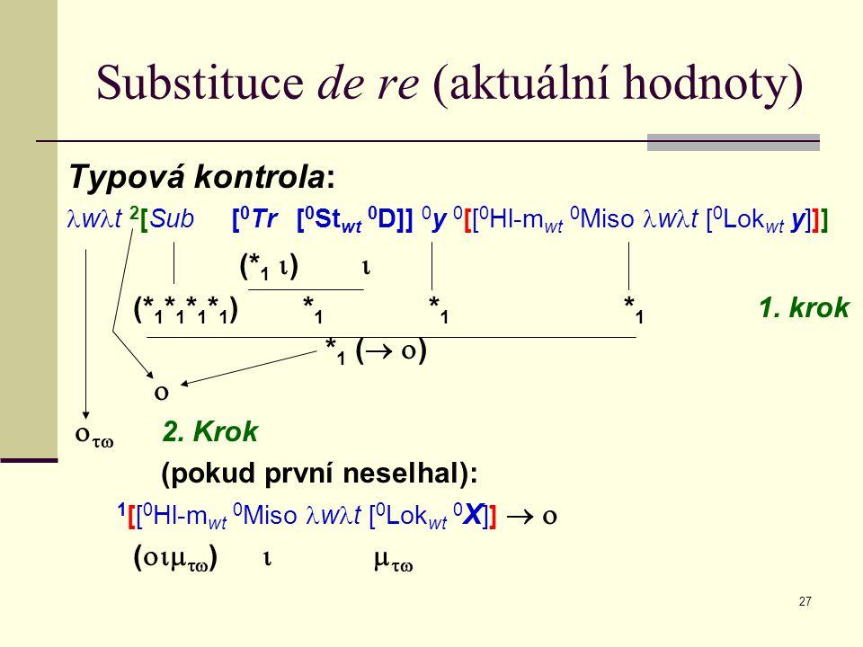 27 Substituce de re (aktuální hodnoty) Typová kontrola: w t 2 [Sub [ 0 Tr [ 0 St wt 0 D]] 0 y 0 [[ 0 Hl-m wt 0 Miso w t [ 0 Lok wt y]]] (* 1  )  (* 1 * 1 * 1 * 1 ) * 1 * 1 * 1 1.