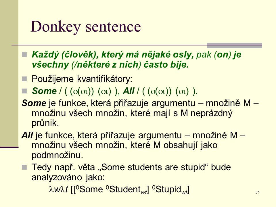 31 Donkey sentence Každý (člověk), který má nějaké osly, pak (on) je všechny (/některé z nich) často bije.