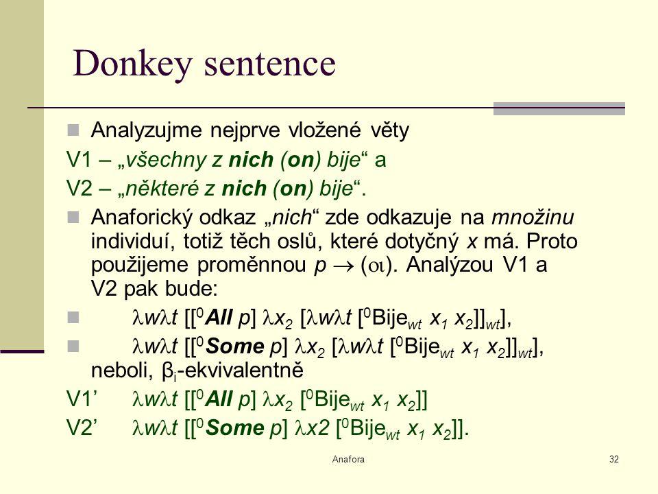"""Anafora32 Donkey sentence Analyzujme nejprve vložené věty V1 – """"všechny z nich (on) bije a V2 – """"některé z nich (on) bije ."""