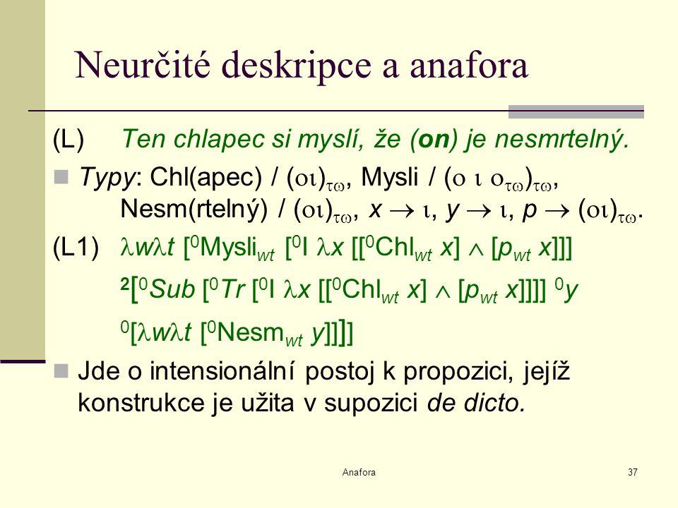 Anafora37 Neurčité deskripce a anafora (L) Ten chlapec si myslí, že (on) je nesmrtelný.