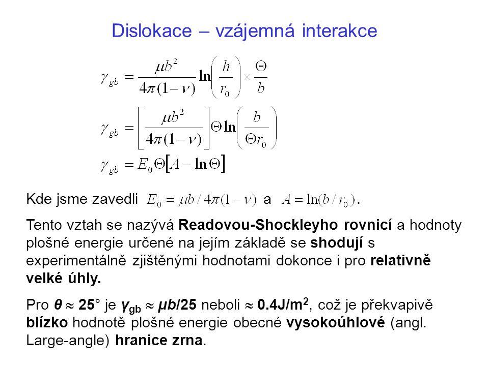 Dislokace – vzájemná interakce Kde jsme zavedli a. Tento vztah se nazývá Readovou-Shockleyho rovnicí a hodnoty plošné energie určené na jejím základě