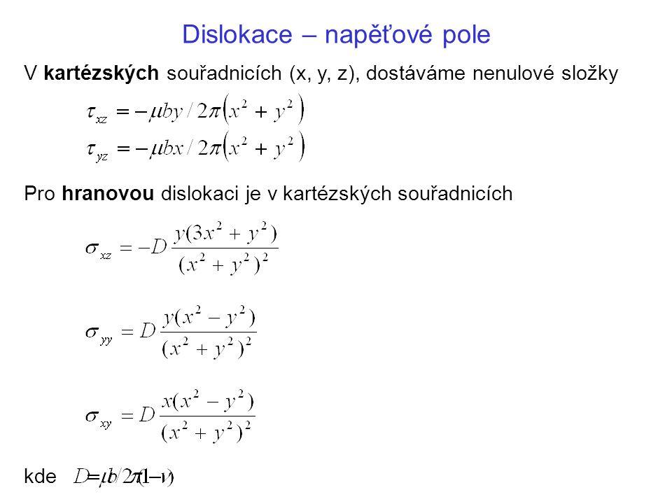 Dislokace – napěťové pole V kartézských souřadnicích (x, y, z), dostáváme nenulové složky Pro hranovou dislokaci je v kartézských souřadnicích kde