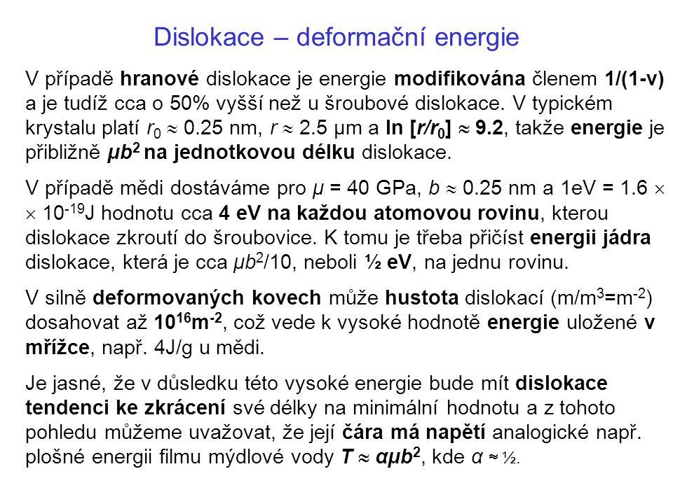 V případě hranové dislokace je energie modifikována členem 1/(1-ν) a je tudíž cca o 50% vyšší než u šroubové dislokace. V typickém krystalu platí r 0