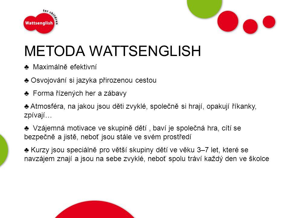 METODA WATTSENGLISH ♣ Maximálně efektivní ♣ Osvojování si jazyka přirozenou cestou ♣ Forma řízených her a zábavy ♣ Atmosféra, na jakou jsou děti zvyklé, společně si hrají, opakují říkanky, zpívají… ♣ Vzájemná motivace ve skupině dětí, baví je společná hra, cítí se bezpečně a jistě, neboť jsou stále ve svém prostředí ♣ Kurzy jsou speciálně pro větší skupiny dětí ve věku 3–7 let, které se navzájem znají a jsou na sebe zvyklé, neboť spolu tráví každý den ve školce