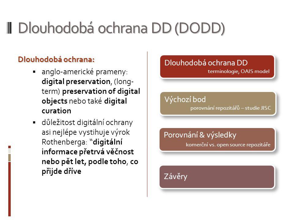 Dlouhodobá ochrana DD (DODD) Dlouhodobáochrana: Dlouhodobá ochrana:  anglo-americké prameny: digital preservation, (long- term) preservation of digit