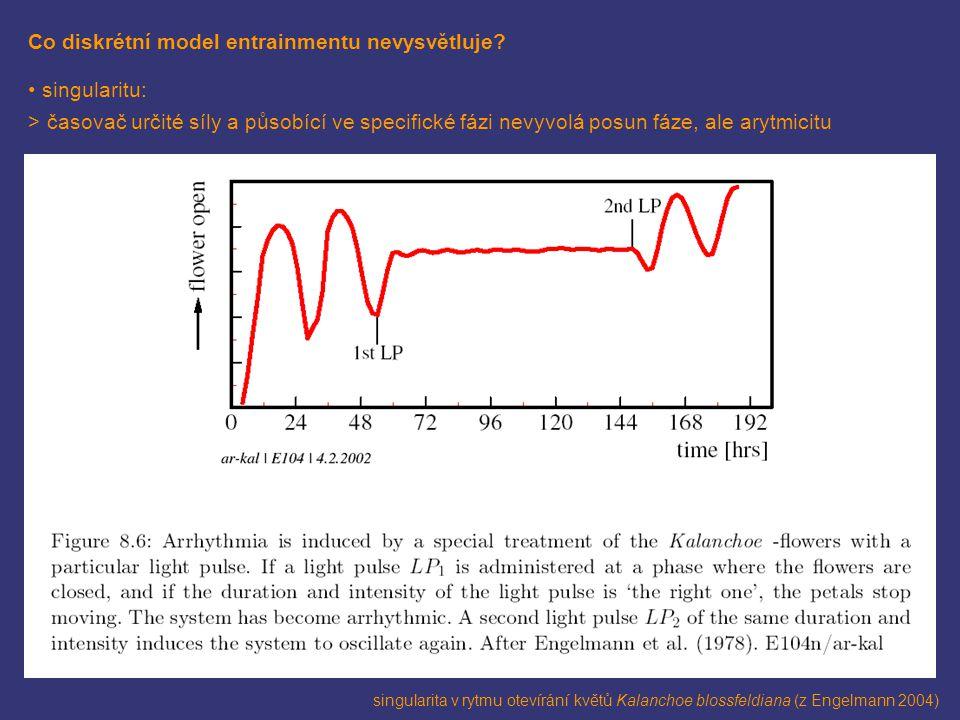 Co diskrétní model entrainmentu nevysvětluje? singularitu: > časovač určité síly a působící ve specifické fázi nevyvolá posun fáze, ale arytmicitu sin