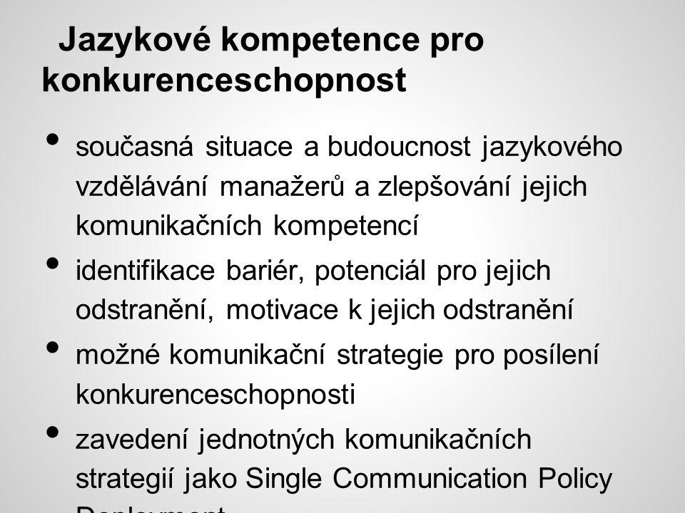 Jazykové kompetence pro konkurenceschopnost současná situace a budoucnost jazykového vzdělávání manažerů a zlepšování jejich komunikačních kompetencí identifikace bariér, potenciál pro jejich odstranění, motivace k jejich odstranění možné komunikační strategie pro posílení konkurenceschopnosti zavedení jednotných komunikačních strategií jako Single Communication Policy Deployment