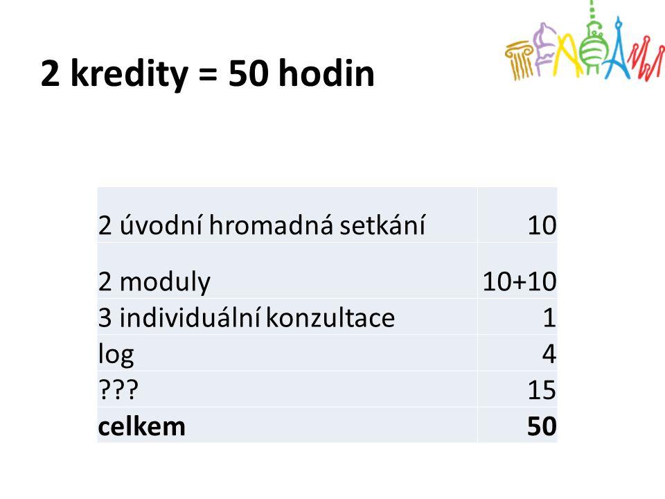 2 kredity = 50 hodin 2 úvodní hromadná setkání10 2 moduly10+10 3 individuální konzultace1 log4 ???15 celkem50
