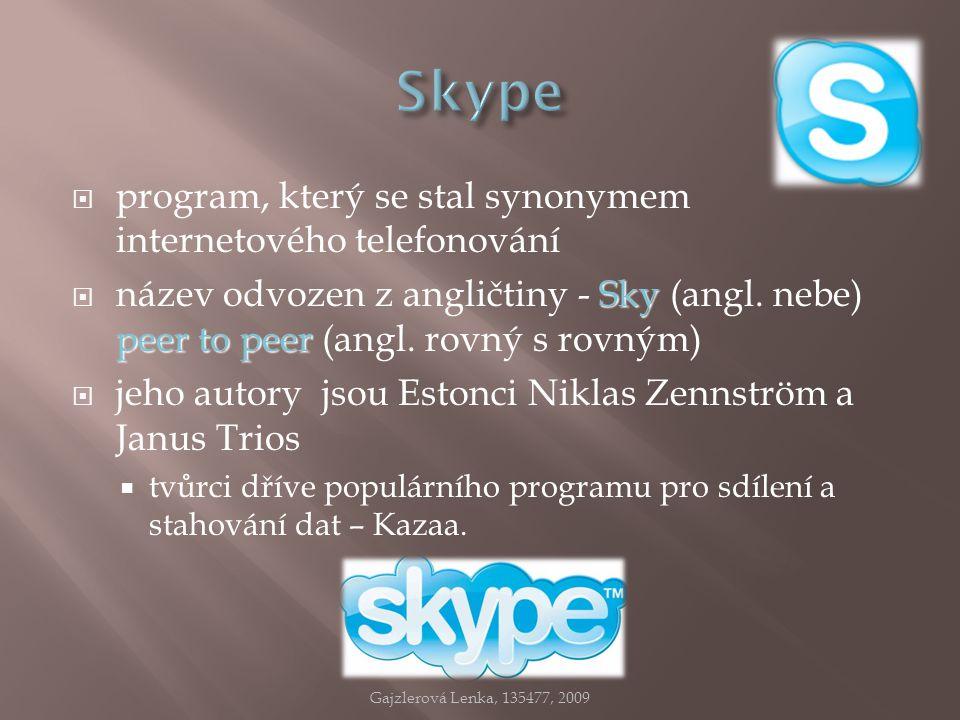  program, který se stal synonymem internetového telefonování Sky peer to peer  název odvozen z angličtiny - Sky (angl. nebe) peer to peer (angl. rov