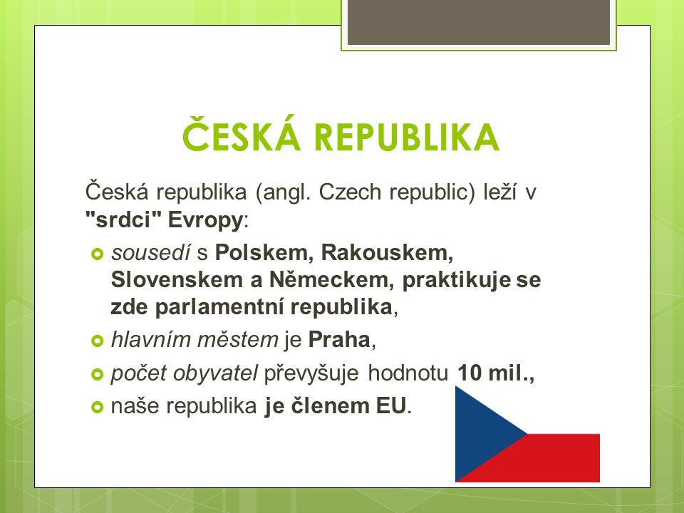 ČESKÁ REPUBLIKA Česká republika (angl. Czech republic) leží v