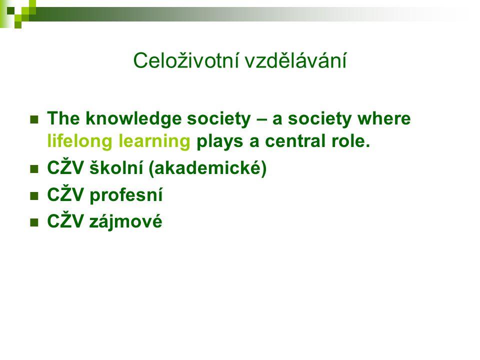 Celoživotní vzdělávání The knowledge society – a society where lifelong learning plays a central role.