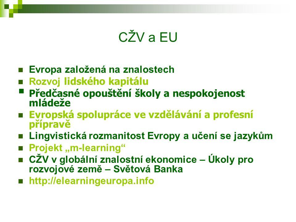"""CŽV a EU Evropa založená na znalostech Rozvoj lidského kapitálu  Předčasné opouštění školy a nespokojenost mládeže Evropská spolupráce ve vzdělávání a profesní přípravě Lingvistická rozmanitost Evropy a učení se jazykům Projekt """"m-learning CŽV v globální znalostní ekonomice – Úkoly pro rozvojové země – Světová Banka http://elearningeuropa.info"""