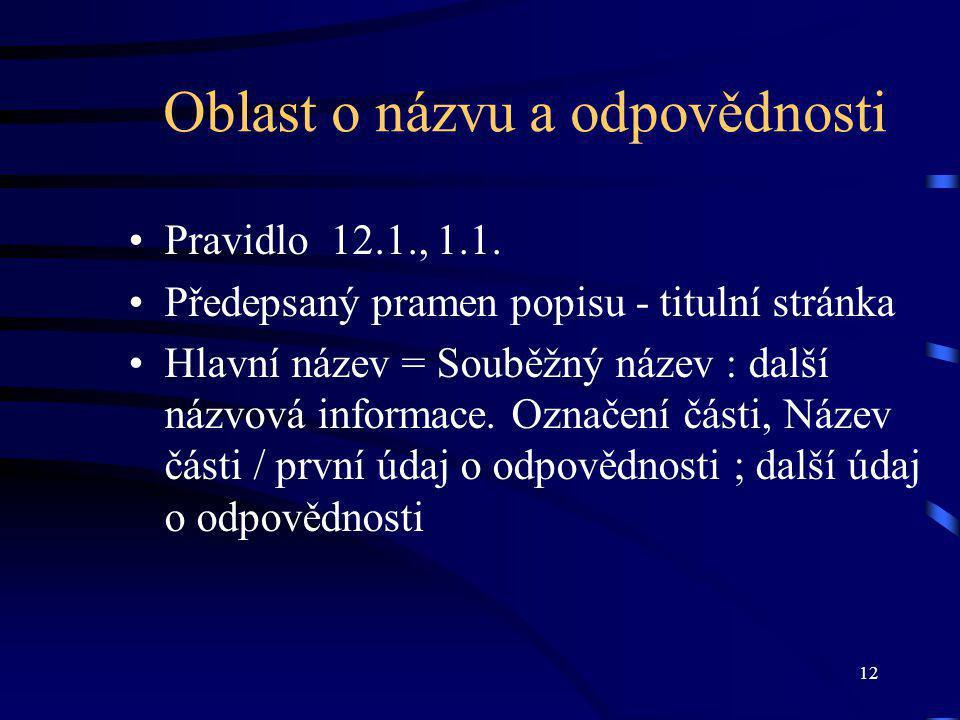 12 Oblast o názvu a odpovědnosti Pravidlo 12.1., 1.1.