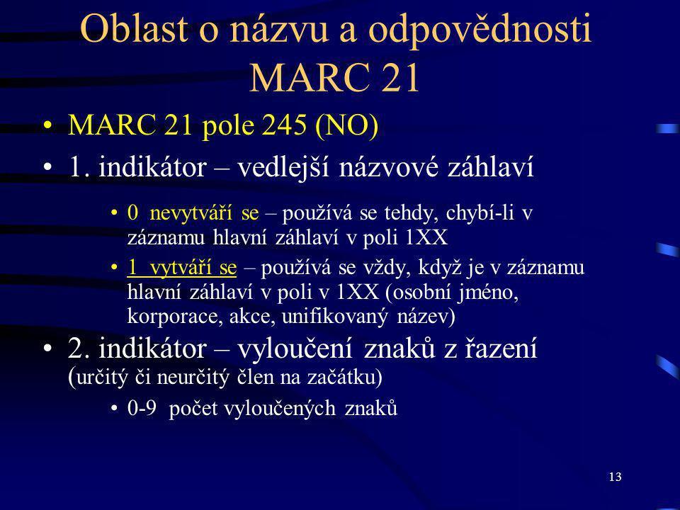 13 Oblast o názvu a odpovědnosti MARC 21 MARC 21 pole 245 (NO) 1.