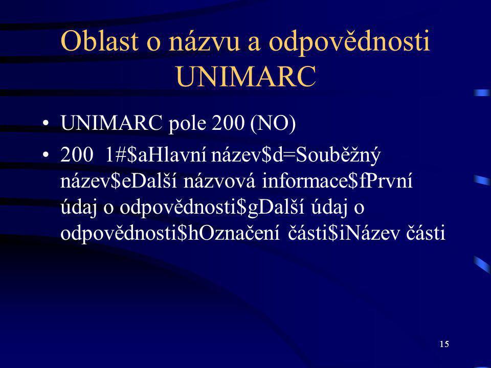 15 Oblast o názvu a odpovědnosti UNIMARC UNIMARC pole 200 (NO) 200 1#$aHlavní název$d=Souběžný název$eDalší názvová informace$fPrvní údaj o odpovědnosti$gDalší údaj o odpovědnosti$hOznačení části$iNázev části