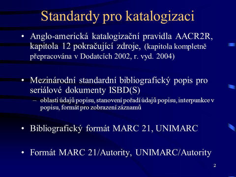 2 Standardy pro katalogizaci Anglo-americká katalogizační pravidla AACR2R, kapitola 12 pokračující zdroje, (kapitola kompletně přepracována v Dodatcích 2002, r.