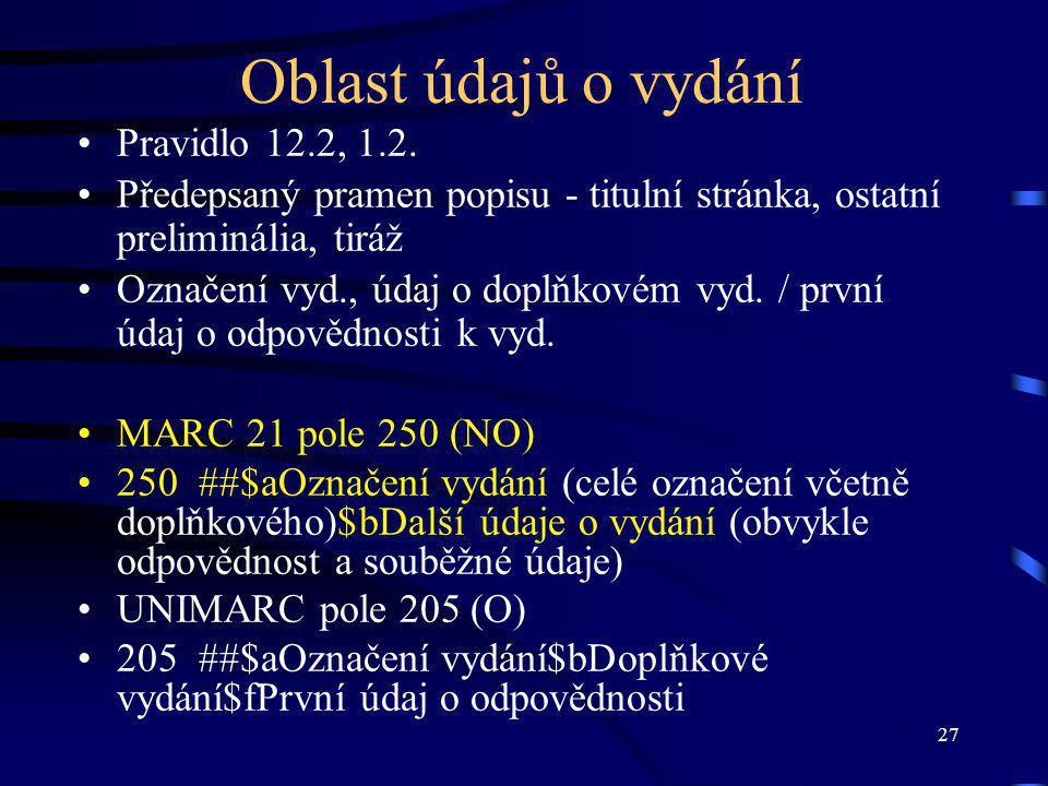 27 Oblast údajů o vydání Pravidlo 12.2, 1.2.