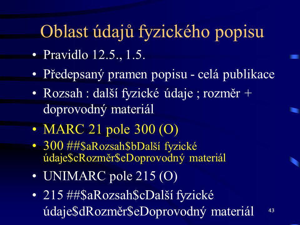 43 Oblast údajů fyzického popisu Pravidlo 12.5., 1.5. Předepsaný pramen popisu - celá publikace Rozsah : další fyzické údaje ; rozměr + doprovodný mat