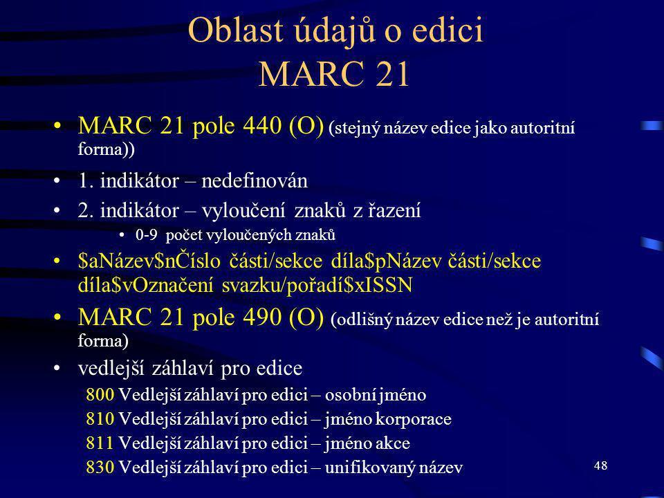 48 Oblast údajů o edici MARC 21 MARC 21 pole 440 (O) (stejný název edice jako autoritní forma)) 1.