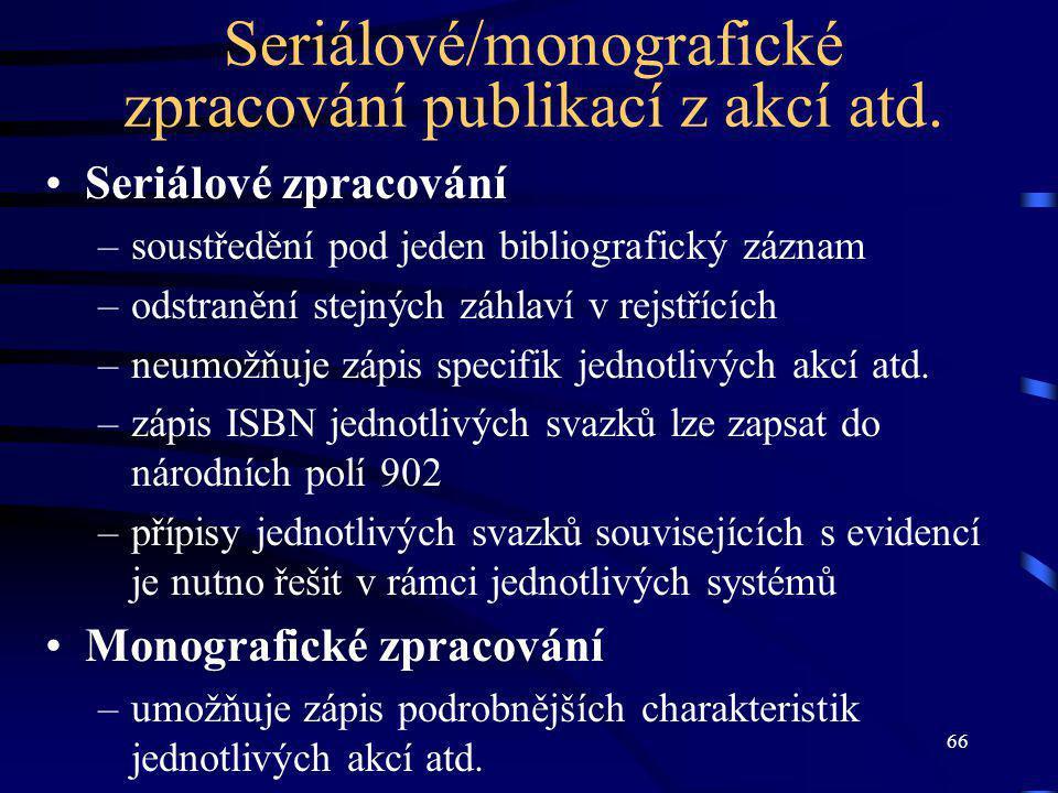 66 Seriálové/monografické zpracování publikací z akcí atd.