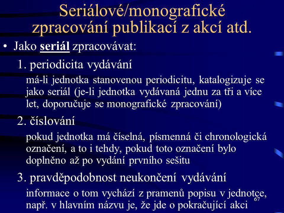 67 Seriálové/monografické zpracování publikací z akcí atd.