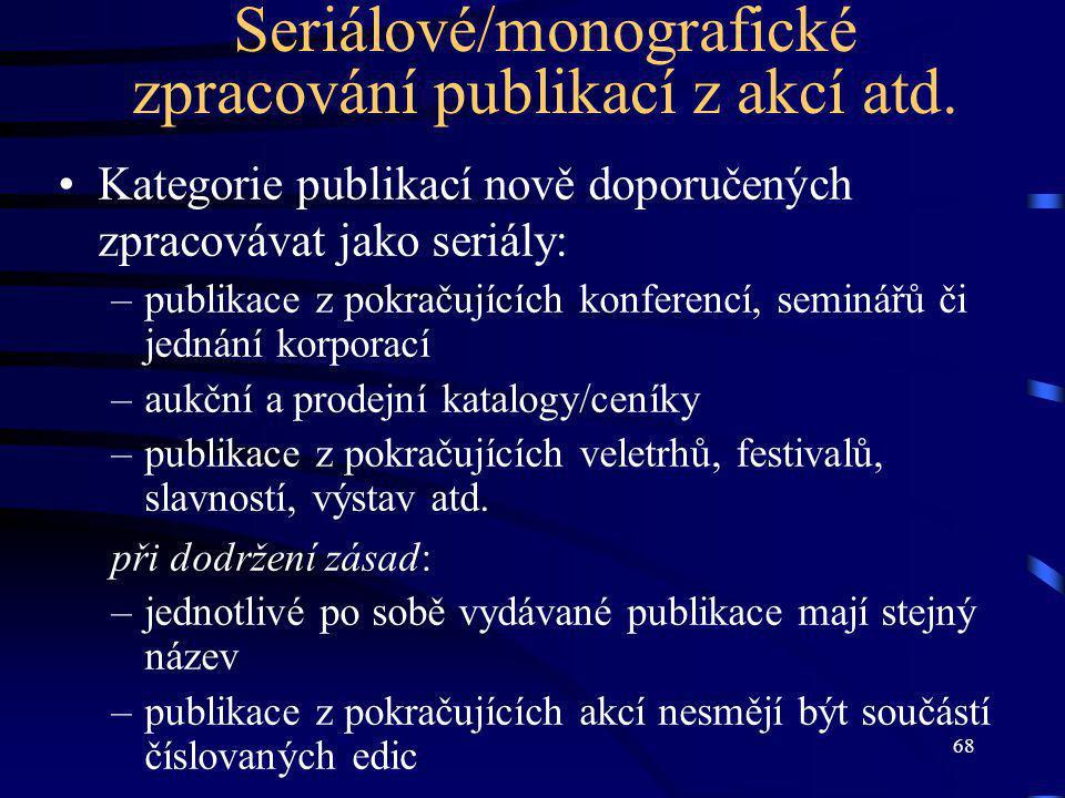 68 Seriálové/monografické zpracování publikací z akcí atd.