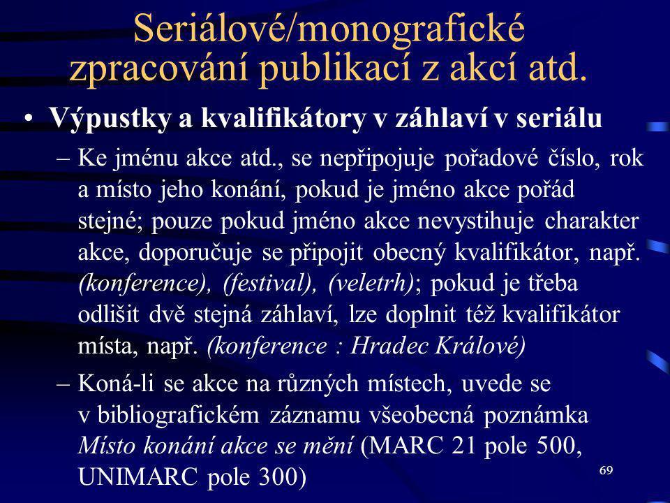 69 Seriálové/monografické zpracování publikací z akcí atd.