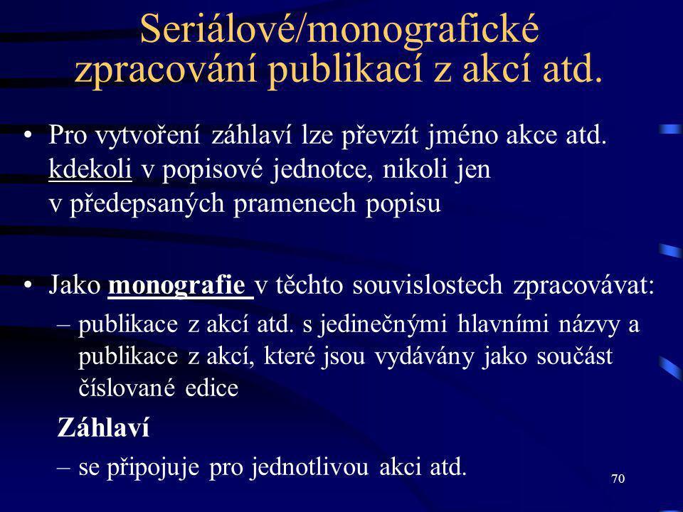 70 Seriálové/monografické zpracování publikací z akcí atd.