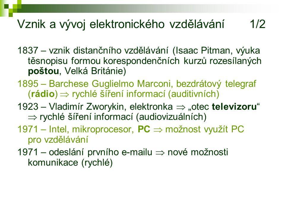 Generace distančního vzdělávání (Košč, 2003) I. generace: korespondenční kurzy II.