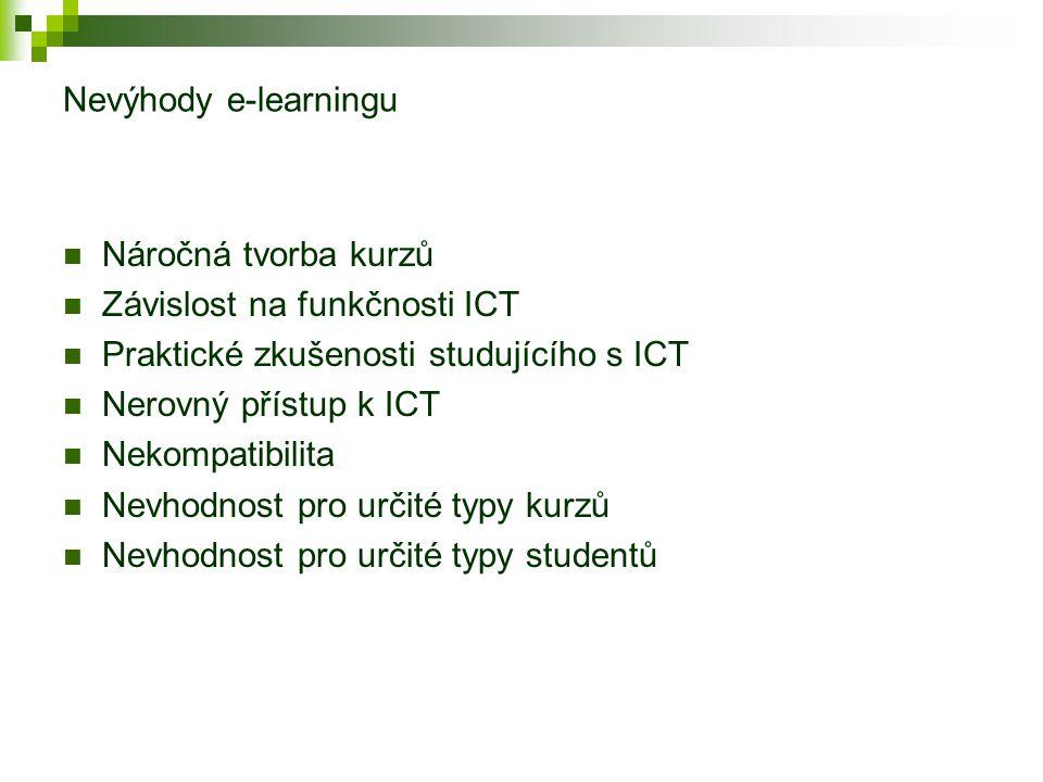 Vzdělávání (především DiV) s e-learningovou podporou a bez ní