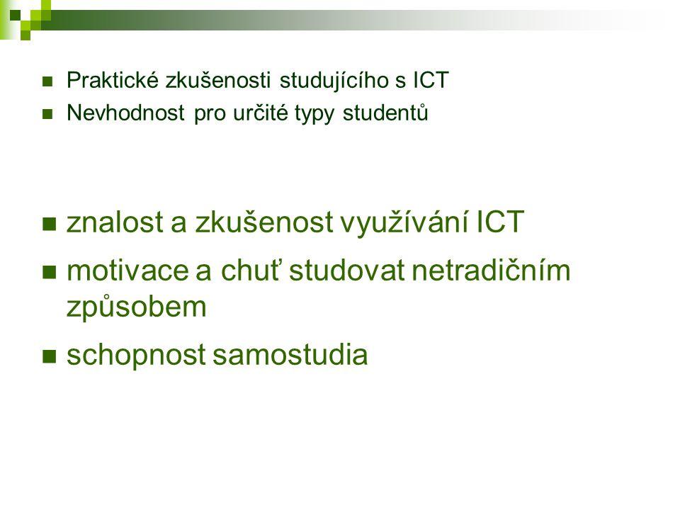 Nevýhody e-learningu Náročná tvorba kurzů Závislost na funkčnosti ICT Praktické zkušenosti studujícího s ICT Nerovný přístup k ICT Nekompatibilita Nevhodnost pro určité typy kurzů Nevhodnost pro určité typy studentů