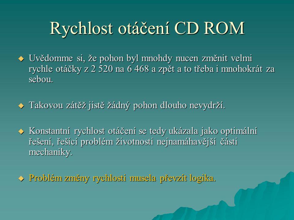 Rychlost otáčení CD ROM  Uvědomme si, že pohon byl mnohdy nucen změnit velmi rychle otáčky z 2 520 na 6 468 a zpět a to třeba i mnohokrát za sebou. 