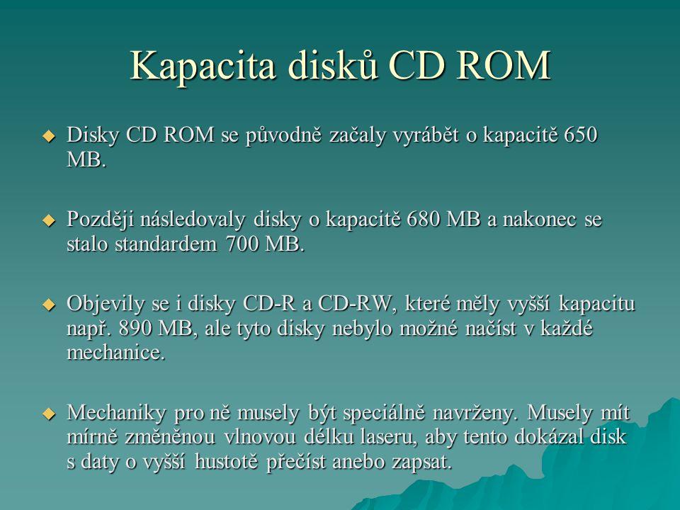 Kapacita disků CD ROM  Disky CD ROM se původně začaly vyrábět o kapacitě 650 MB.  Později následovaly disky o kapacitě 680 MB a nakonec se stalo sta