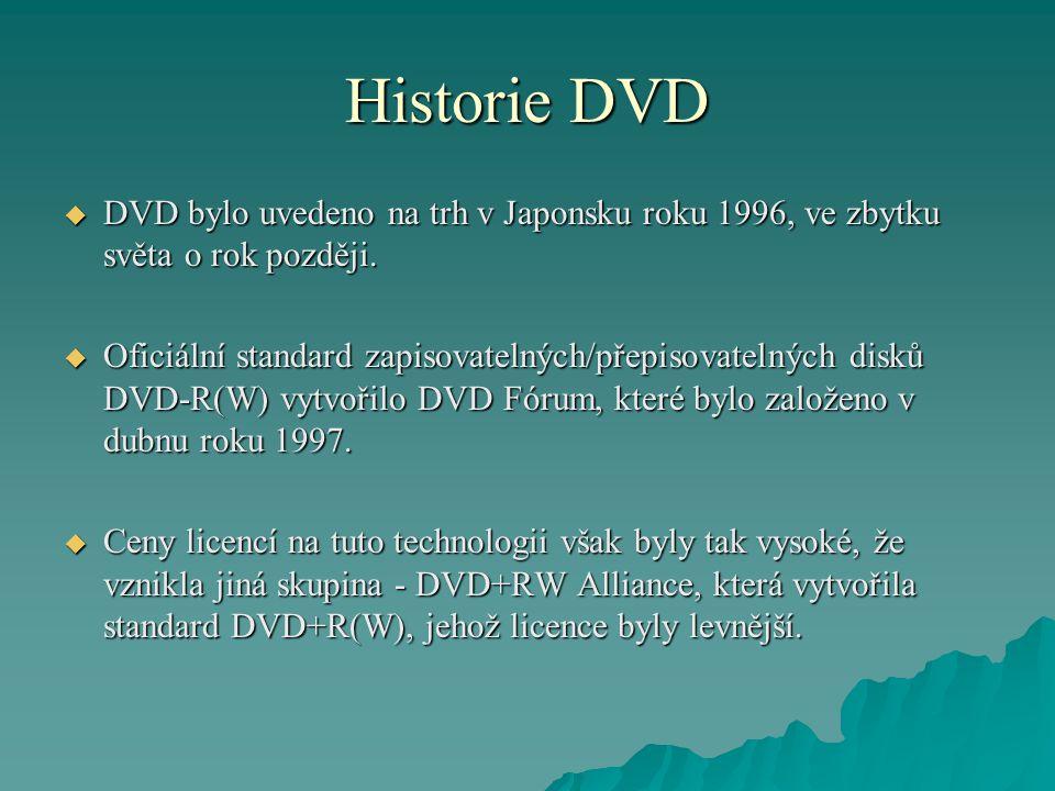 Historie DVD  DVD bylo uvedeno na trh v Japonsku roku 1996, ve zbytku světa o rok později.  Oficiální standard zapisovatelných/přepisovatelných disk