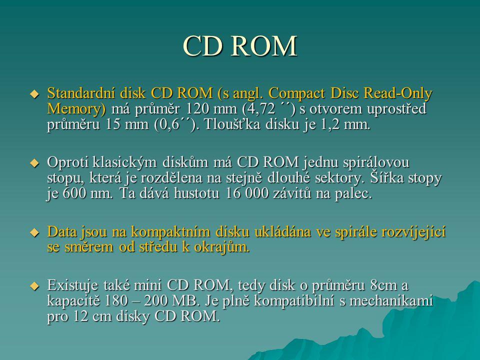 CD ROM Geometrie: průměr 12 cm tloušťka 1,2 mm pit (díra) – hloubka 0,12 mikrometru, délka 0,9-3,3 mikrometru šíře stopy 0,5 mikrometru vzdálenost mezi stopami 1,6 mikrometru celková délka stopy 5 km Spirála ve které jsou ukládaná data na disku CD/DVD