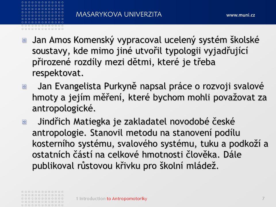 1 Introduction to Antropomotoriky7 Jan Amos Komenský vypracoval ucelený systém školské soustavy, kde mimo jiné utvořil typologii vyjadřující přirozené rozdíly mezi dětmi, které je třeba respektovat.