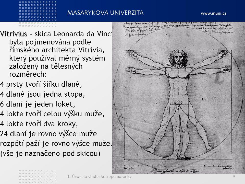 1. Úvod do studia Antropomotoriky9 Vitrivius - Vitrivius - skica Leonarda da Vinci byla pojmenována podle římského architekta Vitrivia, který používal