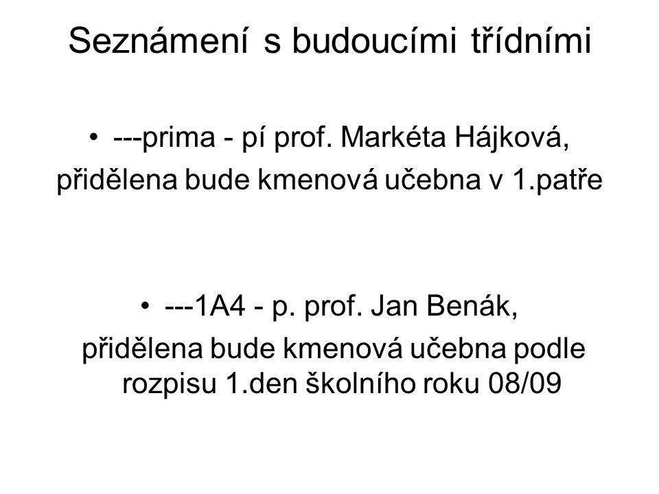 Seznámení s budoucími třídními ---prima - pí prof. Markéta Hájková, přidělena bude kmenová učebna v 1.patře ---1A4 - p. prof. Jan Benák, přidělena bud
