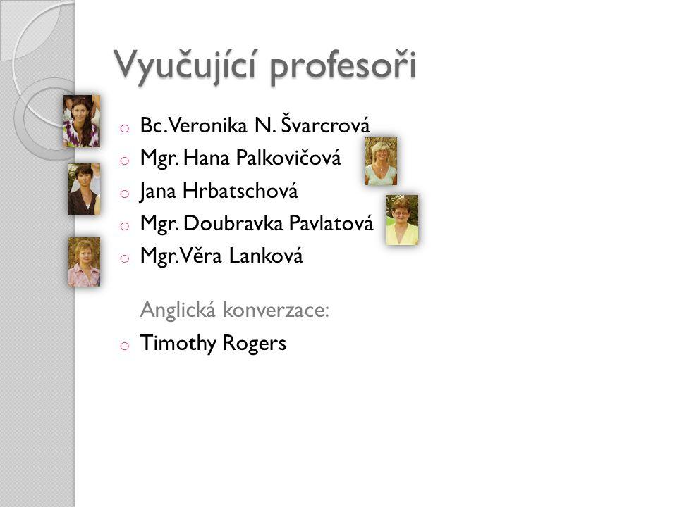 Vyučující profesoři o Bc. Veronika N. Švarcrová o Mgr. Hana Palkovičová o Jana Hrbatschová o Mgr. Doubravka Pavlatová o Mgr. Věra Lanková Anglická kon