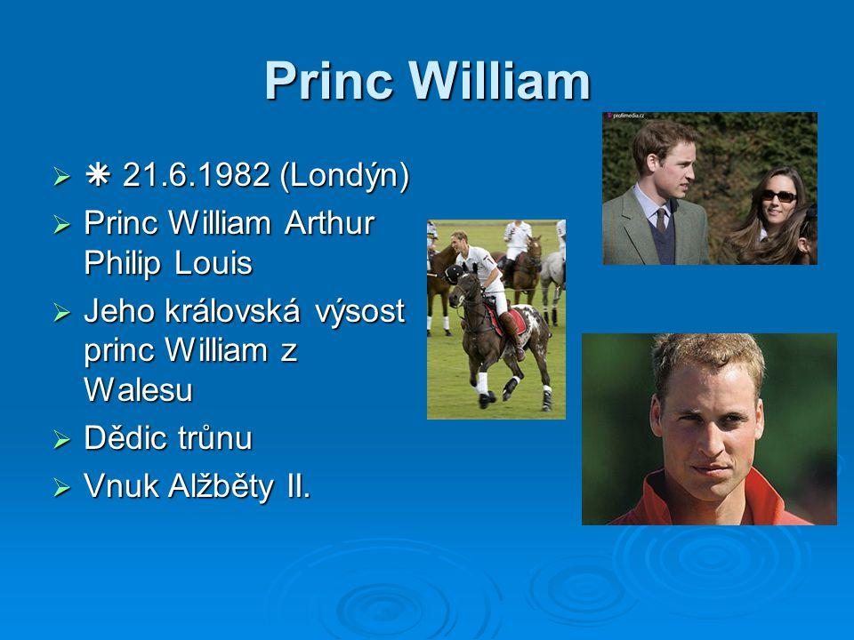   21.6.1982 (Londýn)  Princ William Arthur Philip Louis  Jeho královská výsost princ William z Walesu  Dědic trůnu  Vnuk Alžběty II.