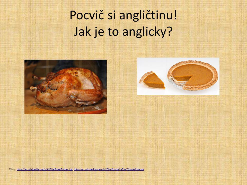 Pocvič si angličtinu! Jak je to anglicky? Zdroj: http://en.wikipedia.org/wiki/File:RoastTurkey.jpg, http://en.wikipedia.org/wiki/File:Pumpkin-Pie-Whol