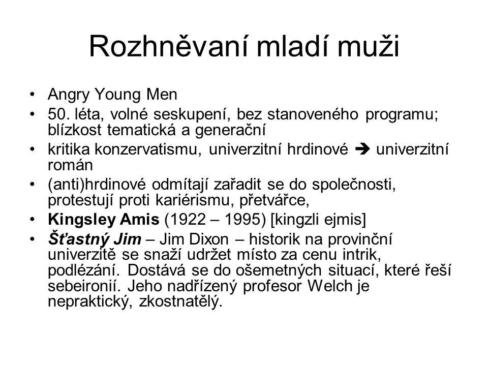 Rozhněvaní mladí muži Angry Young Men 50. léta, volné seskupení, bez stanoveného programu; blízkost tematická a generační kritika konzervatismu, unive