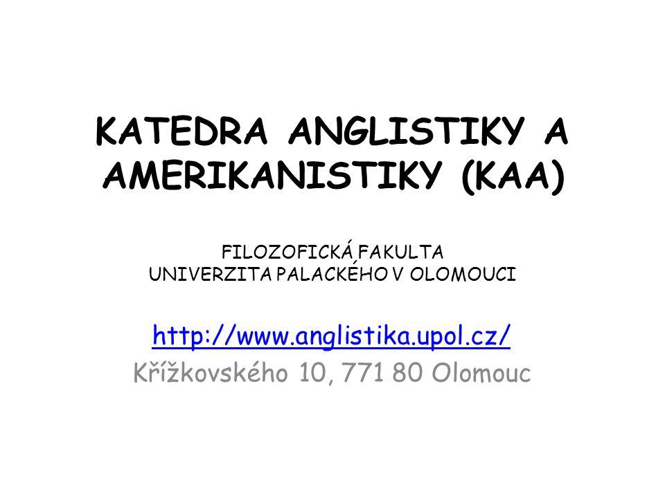 Individuální studijní plán Týká se studentů, kteří nestudovali bakalářský obor Anglická filologie Studentům jsou předepsány ke splnění některé vybrané kurzy z bakalářského programu Anglická filologie na KAA FF UP.