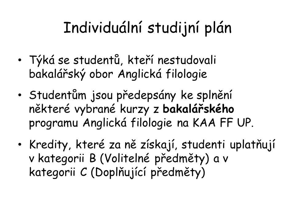 Individuální studijní plán Týká se studentů, kteří nestudovali bakalářský obor Anglická filologie Studentům jsou předepsány ke splnění některé vybrané