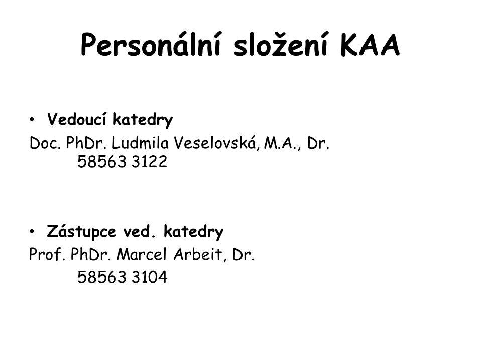 Personální složení KAA Vedoucí katedry Doc. PhDr. Ludmila Veselovská, M.A., Dr. 58563 3122 Zástupce ved. katedry Prof. PhDr. Marcel Arbeit, Dr. 58563