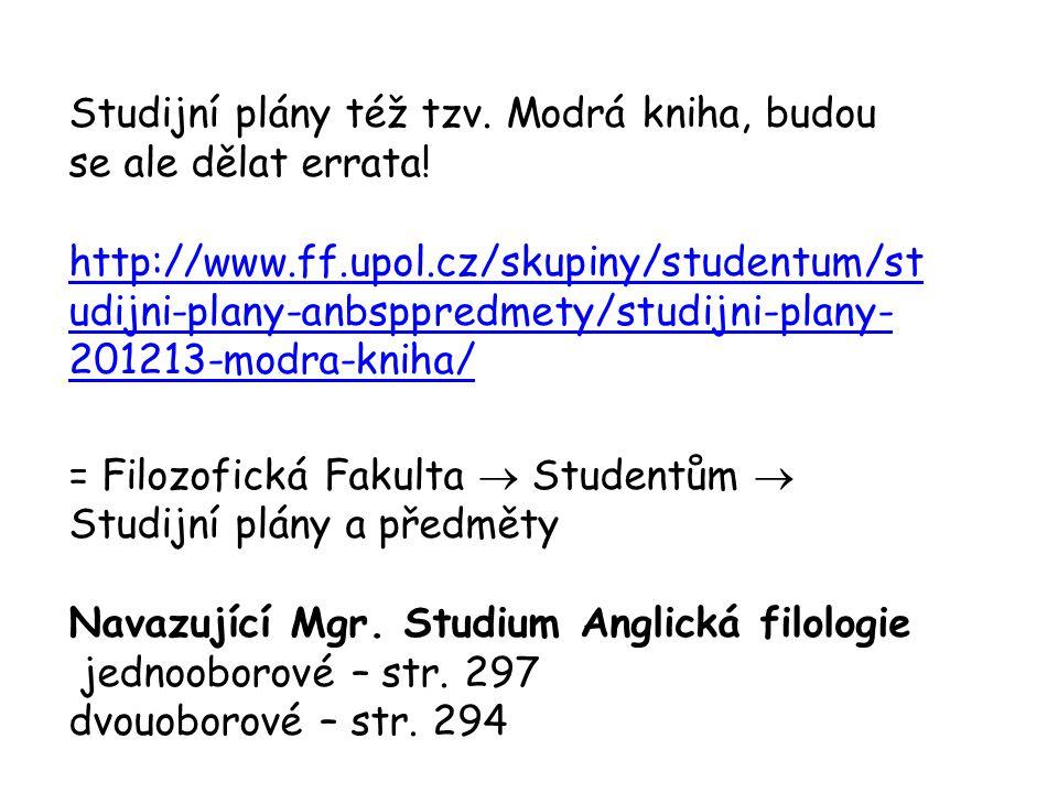Studijní plány též tzv. Modrá kniha, budou se ale dělat errata! http://www.ff.upol.cz/skupiny/studentum/st udijni-plany-anbsppredmety/studijni-plany-