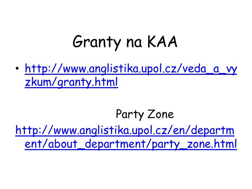 Granty na KAA http://www.anglistika.upol.cz/veda_a_vy zkum/granty.html http://www.anglistika.upol.cz/veda_a_vy zkum/granty.html Party Zone http://www.