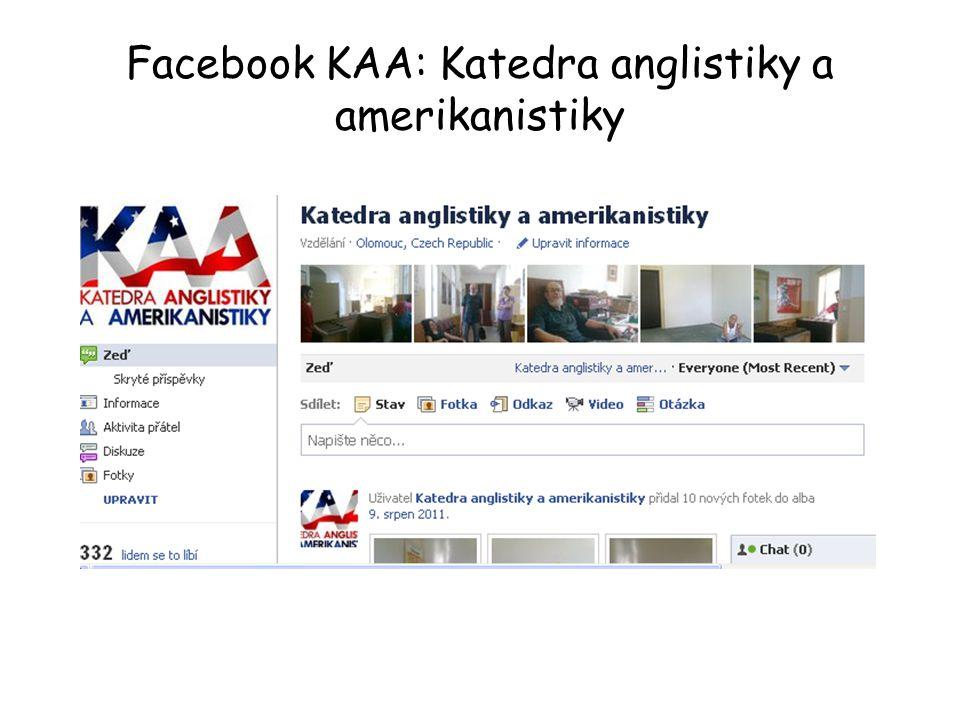 Facebook KAA: Katedra anglistiky a amerikanistiky