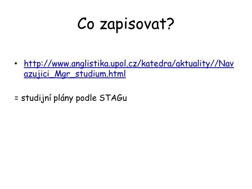 Co zapisovat? http://www.anglistika.upol.cz/katedra/aktuality//Nav azujici_Mgr_studium.html http://www.anglistika.upol.cz/katedra/aktuality//Nav azuji