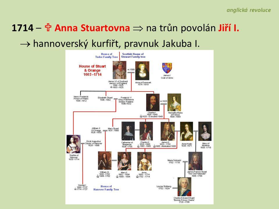1714 –  Anna Stuartovna  na trůn povolán Jiří I.  hannoverský kurfiřt, pravnuk Jakuba I. anglická revoluce
